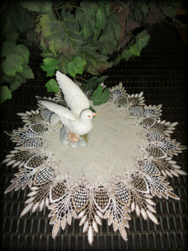 "16""  Doily Table Topper Scarf EARTH FEATHER LACE Neutral Earth Tone"