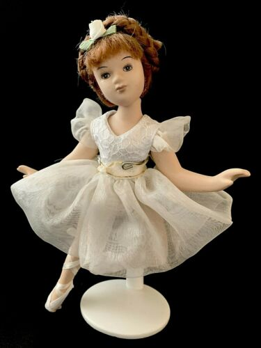 Porcelain Ballerina Doll in Beautiful Dress Jointed On Stand Vintage
