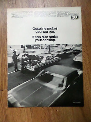 1968 Mobil Oil Ad  Gasoline makes your car run & stop
