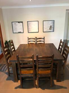 Bali Style Square Timbler Wooden Dining Table Set With 8 Chairs