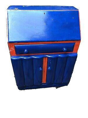 Funky Shabby Chic Cabinet Writing Desk Bureaux Blue Orange