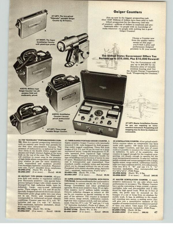 1956 PAPER AD Eldorado Portable Super Scintillation Master Gieger Counter
