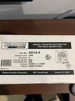 Reliance Controls 30216a 60a 6 Circuit Transfer Switch