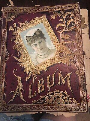 1890s VICTORIAN SCRAPBOOK - A Lot Of DIE CUTS, TRADE CARDS, PRINTS, Ads Cutout
