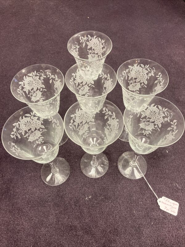 """Tiffin Franciscan Passionflower Pattern RARE 7-1/2"""" Water Goblets 7 Glasses"""