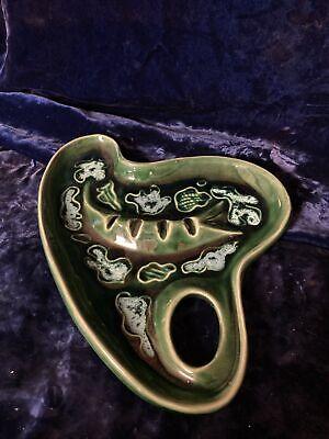 Vintage Retro GREEN Abstract Design ASHTRAY Ceramic Pottery Nice Glaze