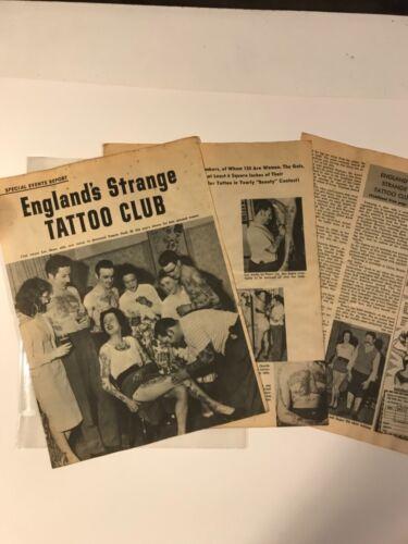 Antique Vintage Tattoo, Original magazine article Bristol Tattoo Club 1960s