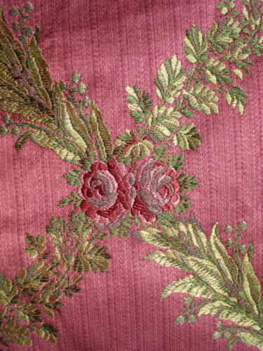 antique french 1900 pink silk  and silver thread brocade tiny roses pattern