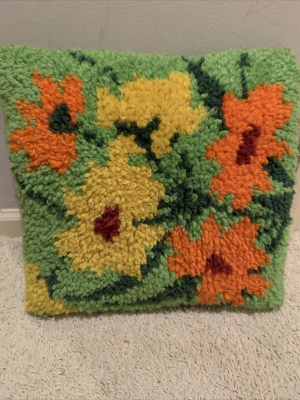 Vtg Mid Century Hooked Floral Throw Pillow Multicolor Handmade