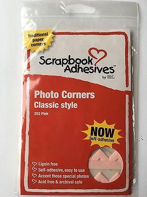 Scrapbook Adhesives 3L Pink Paper Self Adhesive Photo Corners-252/pk #1684