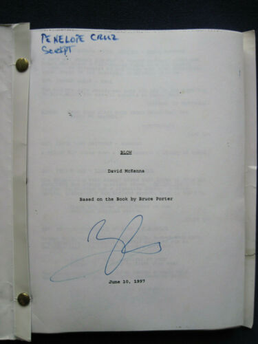 ORIGINAL SCRIPT for BLOW - SIGNED by PENELOPE CRUZ - JOHNNY DEPP, TED DEMME Film