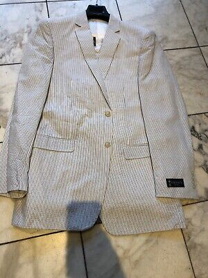 """NWT LIGAN""""S Mens Two Button Nested Seersucker Suit Gray/White Size 50R - Mens Seersucker Suits"""