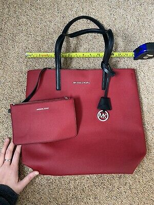 Michael Kors NEW Rasperry Red and Black Leather Tote Bag with Detachable Purse