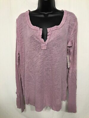 Women's NWT Free People Dusty Pink Hazy Day Henley-Size L