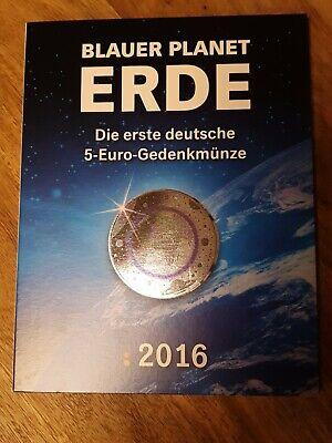 5x 5 EURO MÜNZE BLAUER PLANET ERDE 2016 ADFGJ SATZ + ZERTIFIKAT IM MDM ALBUM NEU