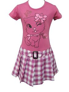 Girls Kitty Printed Checked Dress 2 3 4 5 6 7 8 9 10 11 12 Year
