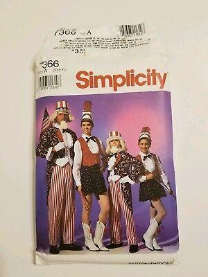 7366 UNCUT Simplicity Uncle Sam and Majorette Costume Pattern, Size A - Female Uncle Sam Costume