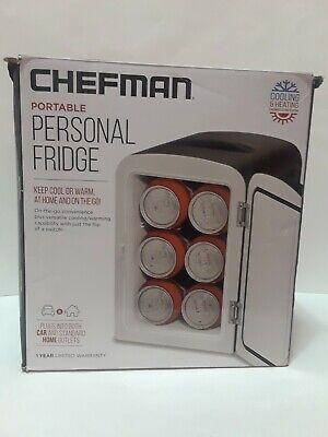 Chefman Mini Portable Compact Personal Fridge Cools  Heats, 4 Liter Capacity