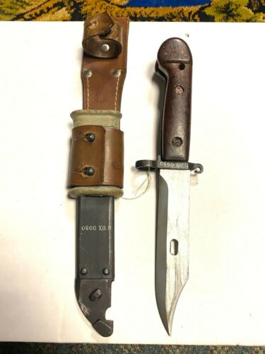 Vintage Russian Bayonet Knife with Scabbard + Leather Frog Matching #