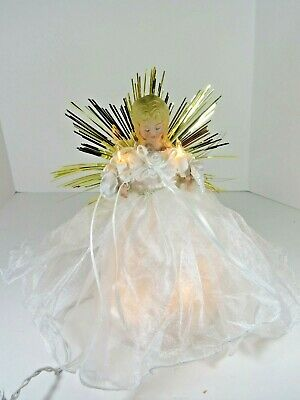 Angel Christmas Tree Topper Light Up Porcelain Face & Arms Lace Gown A4070