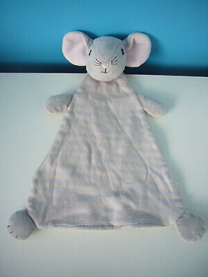 H&M Mouse Stripe Cream Grey Blue Pink Soother Baby Comforter Soft Toy Blanket, used for sale  Shipping to Ireland