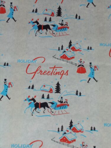 """VTG CHRISTMAS 1940 WW2 WRAPPING PAPER 24"""" x 28"""" SLEIGH SNOW TREES NOS"""