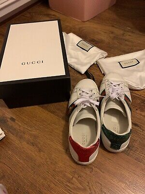 Gucci Ace Bee Trainers Sneakers, Size UK 3 EU 36
