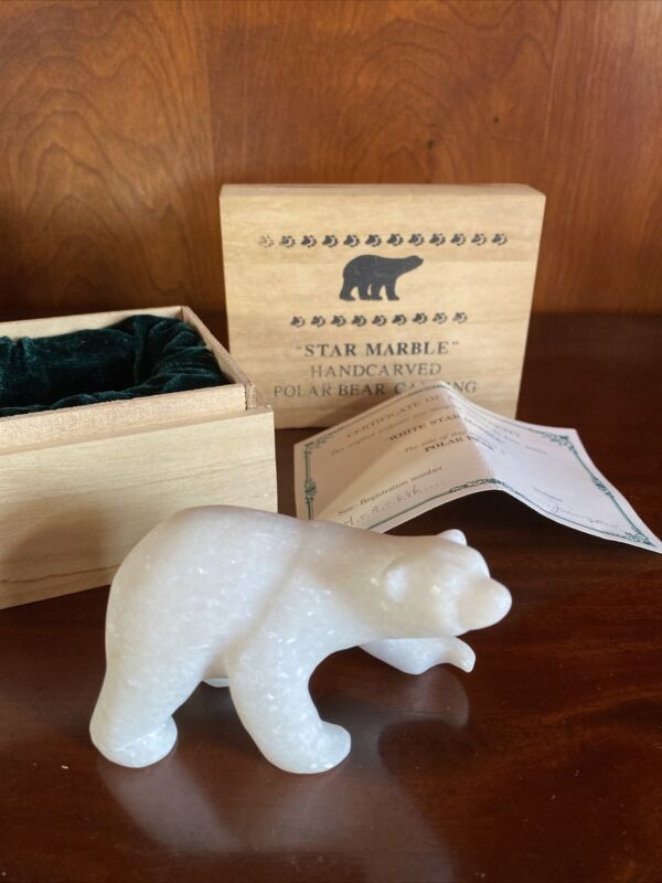 Polar Bear Figurine White Snowflake Marble Natural Stone Carving Vintage 4""