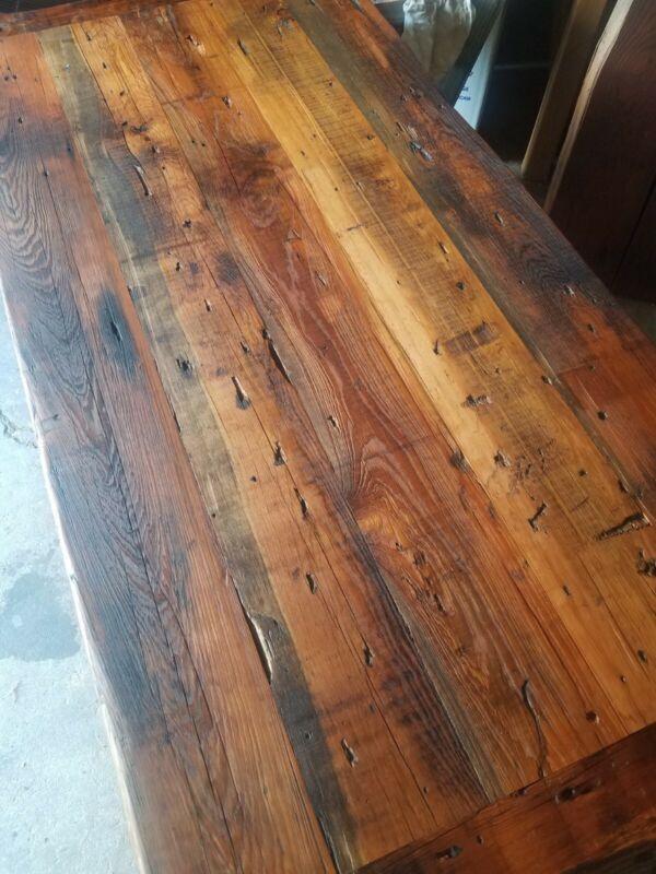 reclaimed heart pine flooring table top beams wall sideing diy floating shelf