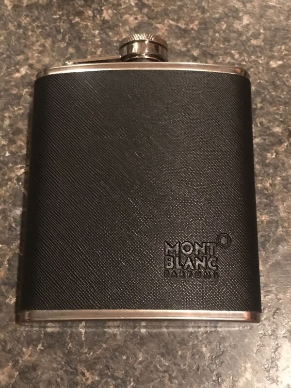 Mont Blanc Parfums Flask Travel Bottle Black Stainless Steel 7 Oz. Black
