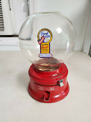 Vintage FORD Penny Gumball Vending Machine w/ Tray Dish Original condition