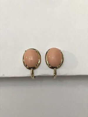 14k Yellow Gold Oval Pink Coral Cabochon Non Pierced Screw Back Earrings 2.8 Gr -