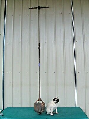Rare Antique Farm Tool 9 Auger Twist Post Hole Digger Extends To 9 Foot Depth