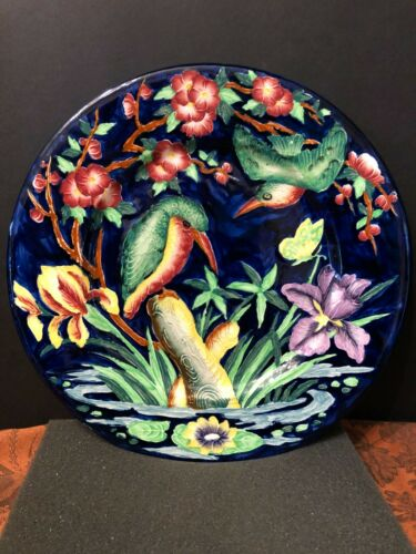 "Maling Kingfisher w/ Iris  Cobalt Blue, Tube Lined 11"" Display Plate Charger"