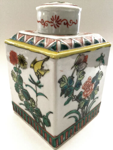 Antique Chinese Famille Verte Porcelain Floral Butterfly Bird Tea Caddy Jar