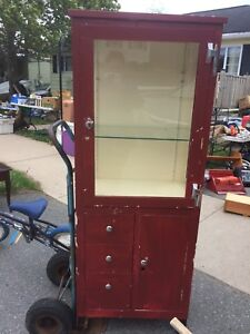 Red Metal Display Cabinet