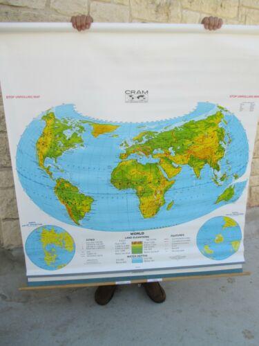 NEW CRAM PULL DOWN SCHOOL MAPS 2 LAYER U.S /WORLD NEW 51 X 53