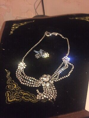 1930s Art Deco Style Jewelry 1930s Style Diamonte Necklace And Clip On Earrings Set- Boxed But Needs Clasp $22.25 AT vintagedancer.com