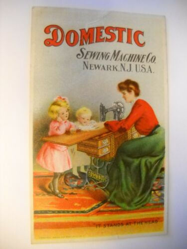 DOMESTIC SEWING MACHINE Victorian trade card CHROMOLITHO family NEWARK NJ