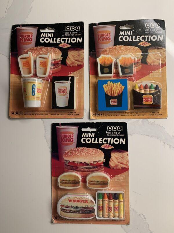 Three vintage 1982 Burger King Mini Eraser sets; New; WOW!!