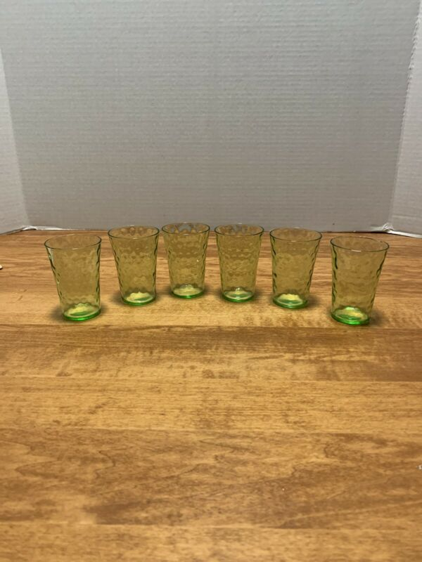 "Six Beautiful Vintage 3"" Rain Drop Design JUICE GLASS Green Uranium Depression"