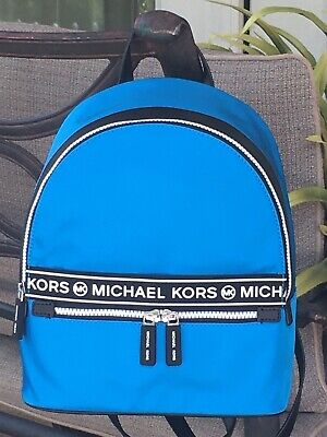 MICHAEL KORS KENLY MEDIUM BACKPACK BAG BLUE NYLON LEATHER SPORT BAG $378 NEW