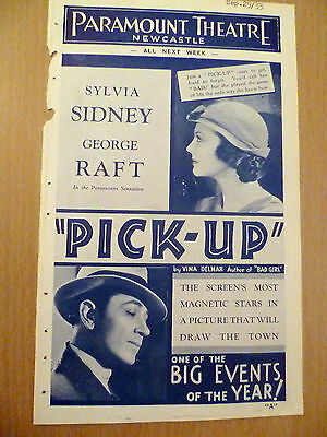 Rare Cinema Programme 1933- Paramount Theatre Newcastle: Pick up & Cash
