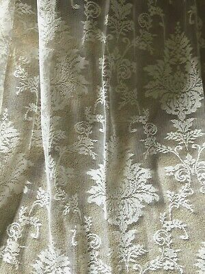 "LAST PAIR! GORGEOUS HUGE 52""X98"" VINTAGE FRENCH STYLE DAMASK LACE/NET CURTAINS"
