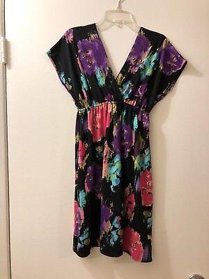 T J  Maxx Women Floral Black Multiple Colors Dress Size S