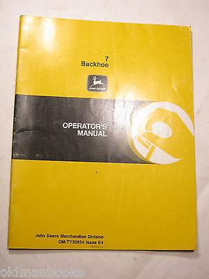 John Deere 7 Backhoe Om-ty20654 Issue E4 Operators Manual