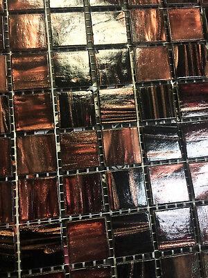 (3/4 x 3/4 Copper Bronze Fleck Glimmer Glass Mosaic Tile Backsplash Kitchen Bath)
