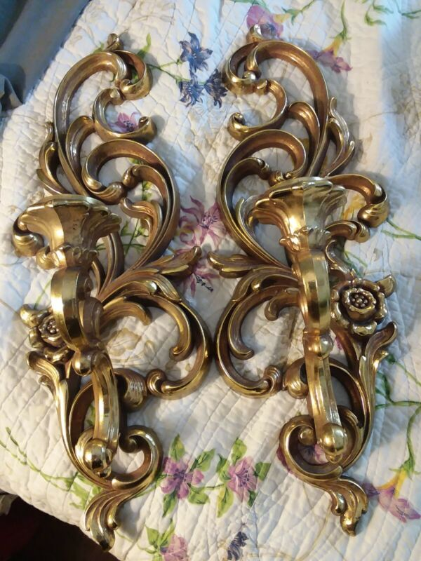 Vintage syrco HOMCO Home Interiors Sconce Gold SCONCE pair 4531Hollywood Regency