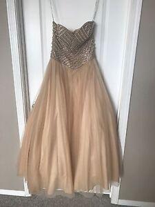 Gold graduation beaded strapless dress