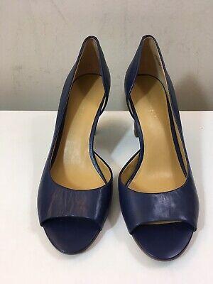 Nine West Blue Leather Peep-toe Half Dorsay Stacked Heel Size 7.5 Peep Toe Dorsay Pump